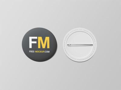 Free Pin Button Badge PSD Mockup