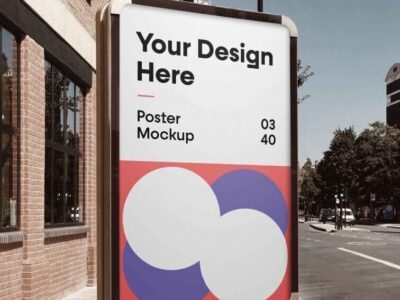 Signboard Product Advertisement PSD Mockup