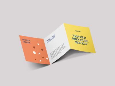 Free Square Folded Brochure PSD Mockup