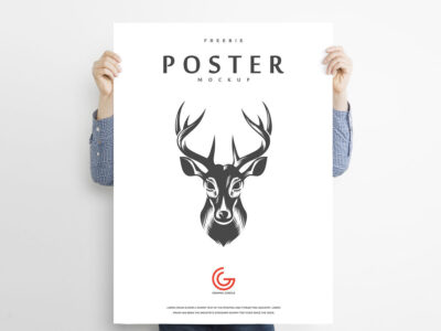 Free Holding Poster PSD Mockup