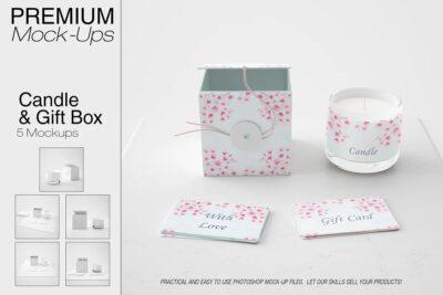 Creative Gift Box and Candle Mockup