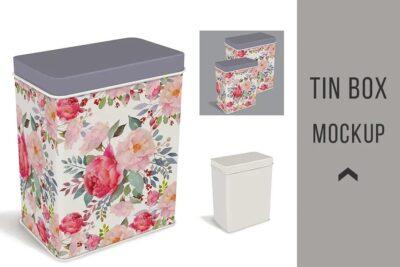 Free Product Tin Box PSD Mockup