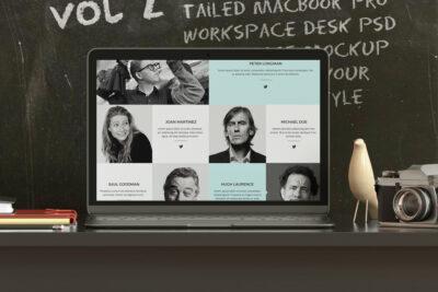 Free MacBook Desk PSD Mockup