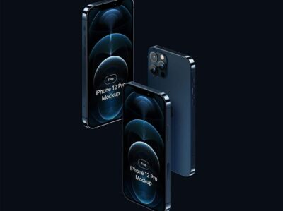 Free Blue iPhone12 Mockup Template