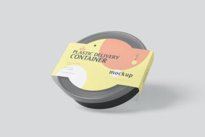 Plastic Delivery Container PSD Mockup