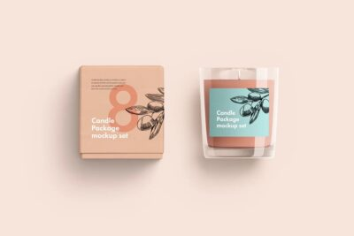 Free Candle Glasses with Box Mockup