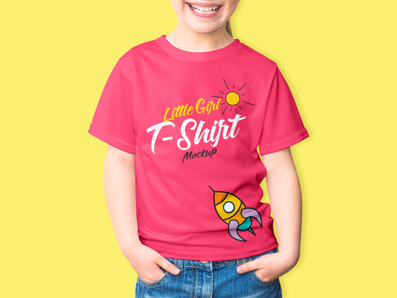 Little Girl T-Shirt PSD Mockup