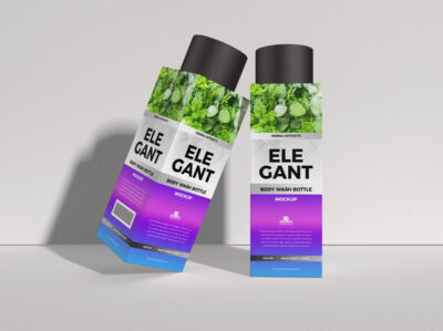 Free Body Wash Bottle Packaging Mockup