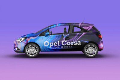 Realistic Opel Corsa Car Mockup