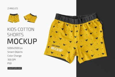 Free Kids Cotton Shorts Mockup