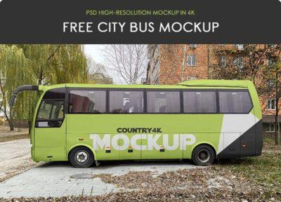 Free City Bus Vehicle Mockups