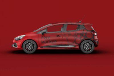 Red Renault Clio Car Mockups