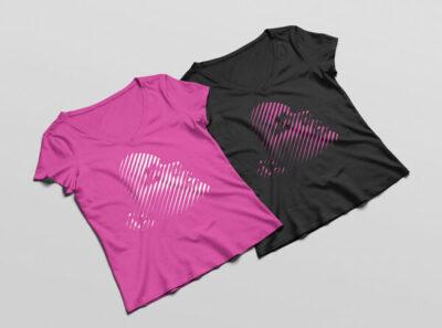 Double Women T-Shirt PSD Mockups