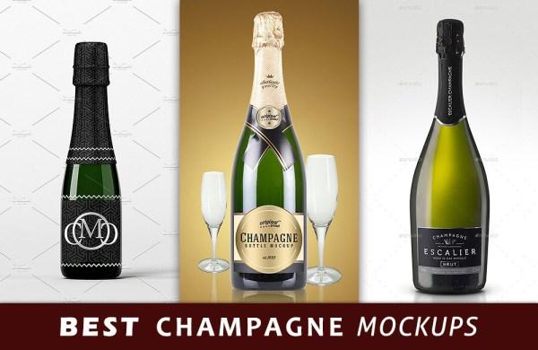 Best Champagne Bottle PSD Mockup