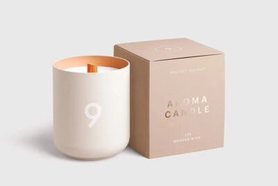 Candle Glasses with Box PSD Mockup