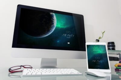 Apple Desktop Device PSD Mockup