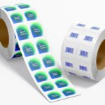 Free Square Sticker with Roller Mockup