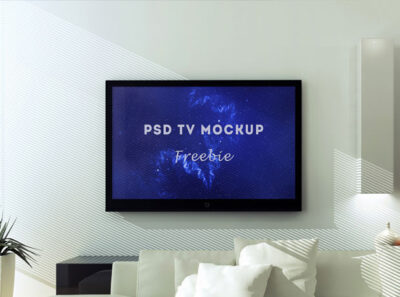 Free Wall LED TV Mockup