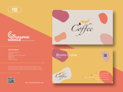 Online Coffee Business Card PSD Mockup