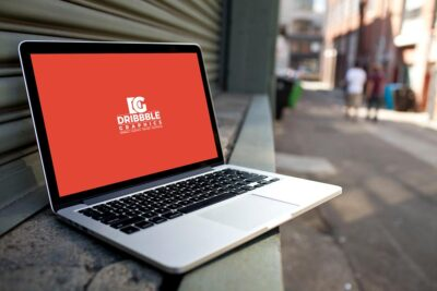 Free Street Laptop PSD Mockup