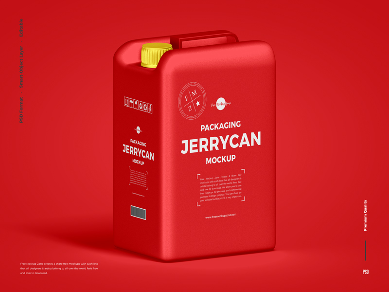 Free Red Jerry CAN PSD Mockup