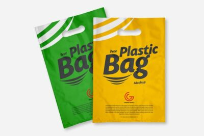 Free Plastic Shopper Bag PSD Mockup