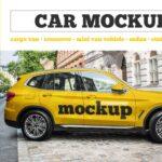Yellow Vehicle Car PSD Mockup