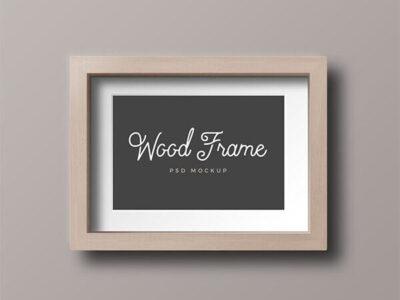 Free Wood Photo Frame PSD Mockup