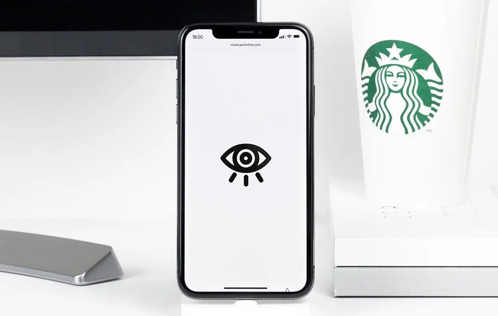iPhone X in Simple Mode PSD Mockup