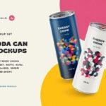 Free Soda Drinking Can PSD Mockup