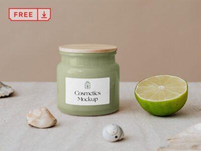 Free Cosmetic Jar PSD Mockup