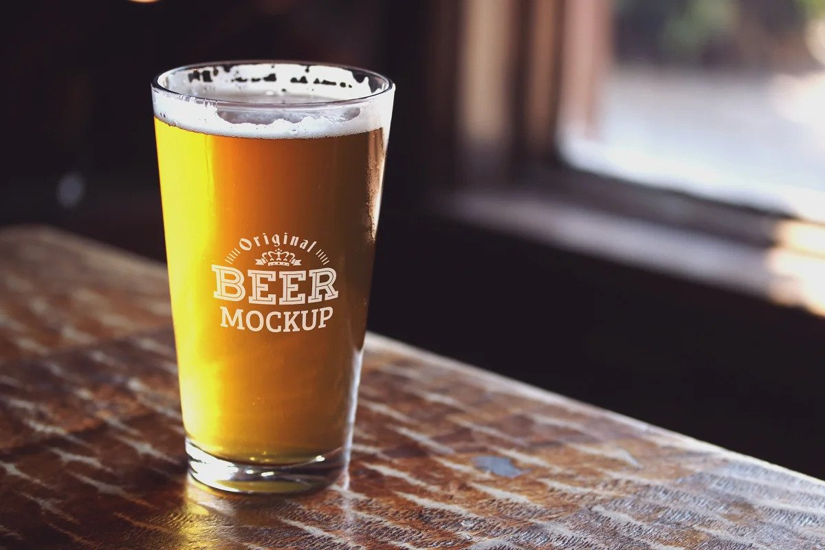 Free Beer Glass PSD Mockup