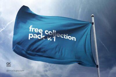 Free Advertisement Flag PSD Mockup