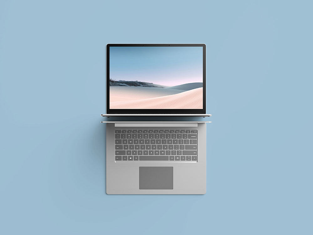 Top View Look Laptop Mockup