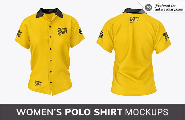 Free Women Yellow Shirt PSD Mockup